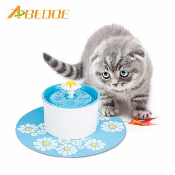 ABEDOE 220V Electric Flower Pet Fountain 1.6L Automatic Dog Cat Water Feeder Drinking Bowl Pet Drink Cat Water Dispenser EU Plug