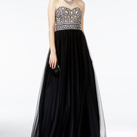 Blondie Nites Juniors' Strapless Sequined Ball Gown - Juniors Shop All Prom Dresses - Macy's