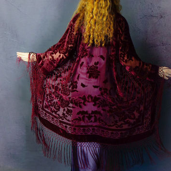 Red wine silk velvet burnout fringe kimono  / long luxury duster / shimmering Stevie Nicks long jacket