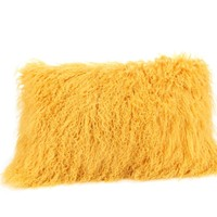 Lamb Fur Pillow Rectangular Gold
