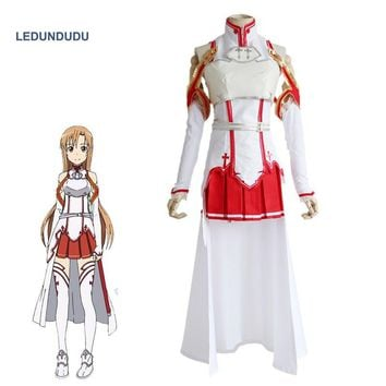 Anime Sword Art Online Asuna Yuuki Dress Cosplay Costumes SAO Asuna Battle Suit Outfits Full Set Uniform for Halloween