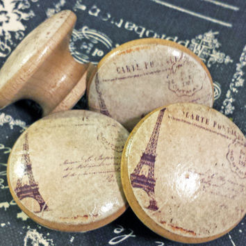 "Vintage Paris Knobs Drawer Pulls, Distressed Postcard Cabinet Pull Handles, 1.5"" French Style Dresser Knobs, Eiffel Tower, Made to Order"
