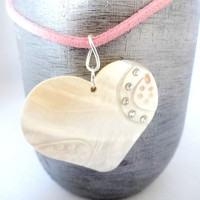 Pink Suede Necklace, White Heart Shell Pendant Necklace, Summer Jewelry