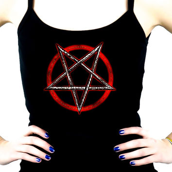 Inverted Pentagram Women's Spaghetti Strap Shirt Occult Clothing