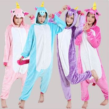 Cute Cartoon Unicorn Pajamas Adults Kids Halloween Costumes Kigurumi Pajamas Unisex Animal Pegasus Hooded Sleepwear