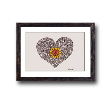 Heart & Flower Original illustration, White and Black Drawing, Colored pencil and ink drawing, Hand- painted illustration, Home decor
