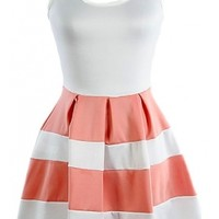 The Coral Colorblock Dress