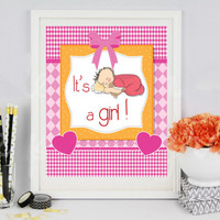 it's a girl ! newborn girl baby girl gift children decoration instant download photography picture gift for parents