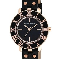 Women's Anne Klein Crystal Dial Leather Strap Watch, 34mm