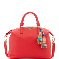 Small Slouchy Satchel Bag w/Tassel, Vermillion