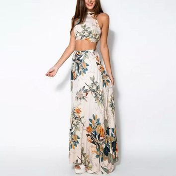 ICIK7HQ Summer Floral Crop Top And Maxi Skirt  Beach Set