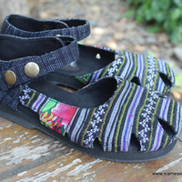 Vegan Womens Shoe Mary Jane Style In Hmong Embroidery And Indigo Batik Espadrille