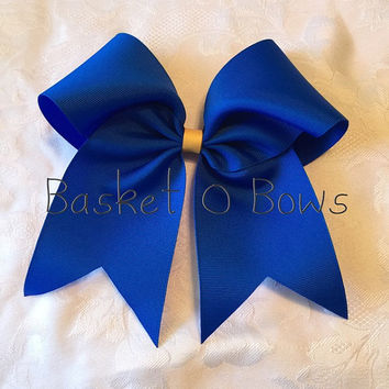 Large Cheer Bow or Softball Bow - Royal Blue with Yellow/Gold Glitter Center - RTS