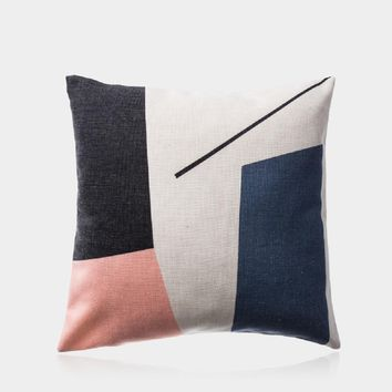 "Navy and Pink Pillow Cover 18"" x 18"""