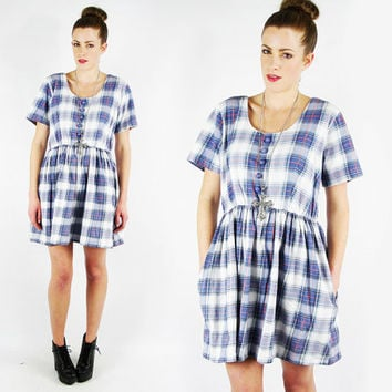 vtg 90s grunge revival blue tartan PLAID print POCKET slouchy oversized BABYDOLL jumper mini dress M L