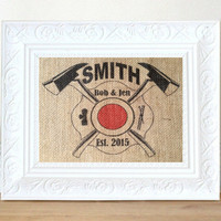 Personalized Firefighter Gift, Man Cave Wall Art, Gifts for Men, Fireman Decor, Firefighter Decor, Gifts for him, Firefighter Wedding