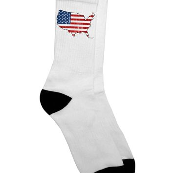 United States Cutout - American Flag Distressed Adult Crew Socks  by TooLoud