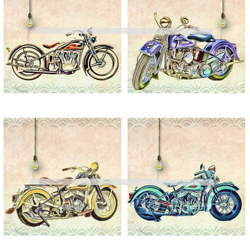 Harley Flathead Motorcycles Altered Art - Coasters Artwork, 4.0 inch Squares, Arts and Craft Projects