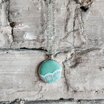 Mint green pendant necklace silver circle chain white floral lace vintage romantic Bridesmaid fabric gift for her bridal wedding flower girl