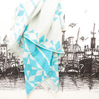 Turquoise Turkish Towel Organic Beach Towel, double sided boho towel Turkish Cotton Towel for Man Home Styling Double-sided pestemal Organic