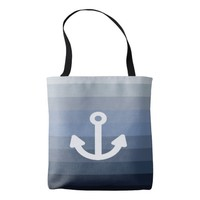 Blue gray horizontal stripes white anchor tote bag