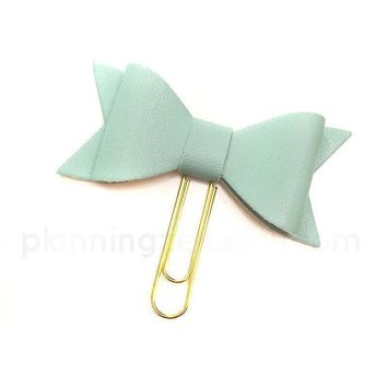 Mint Bow Planner Clip Faux Leather