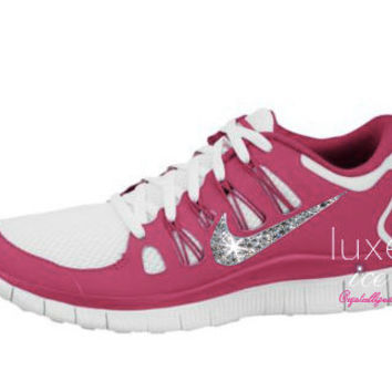 NIKE run free 5.0 running shoes w/Swarovski Crystals detail - Pink/white