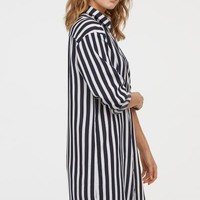 Patterned Shirt Dress - Dark blue/white striped - | H&M US