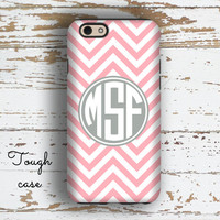 Monogram iphone 6s case, Chevron Iphone 6 Plus case, Preppy iPhone 5 case, Pink iPhone 5c case, Durable Iphone case, Pink white gray( 9764)