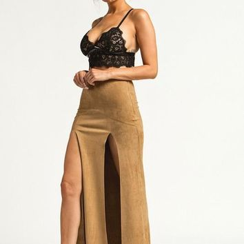 Double Front Slit Faux Suede Maxi Skirt