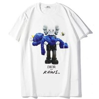 Dior x Kaws co-branded men's and women's cotton round neck loose half-sleeved T-shirt white