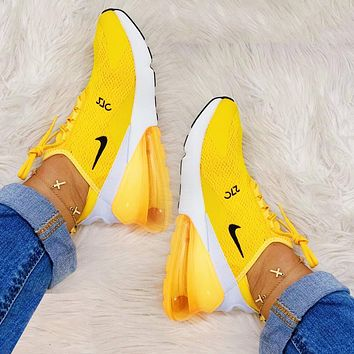 NIKE AIR MAX 270 Popular New Women Leisure Breathable Air Cushion Running Sneakers Shoes Yellow