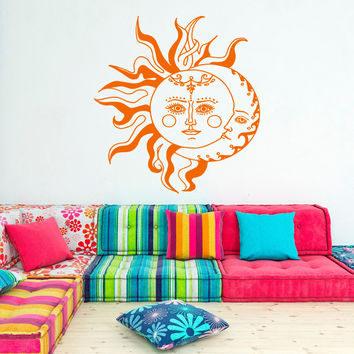 Wall Decal Sun And Moon Sticker- Crescent Moon Decor Ethnic Symbol Decal Bedroom Dorm Bohemian Fashion Boho Bedding Wall Art Home Decor U011