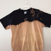 Dip dyed bleach Ombre black t shirt