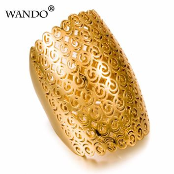 WANDO Dubai Ethiopia wedding Gold Rings 24K Gold Color Ring For Women Wedding Jewelry Ethiopian/African/Middle East Items wr12