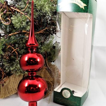 Krebs Red Tree Topper, Blown Glass, Made in Germany, Vintage Ornaments
