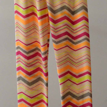 New Womens Zig Zag Chevron Multi-colored Printed Leggings Skinny Tights Sexy Slim Pants For Spring Gifts