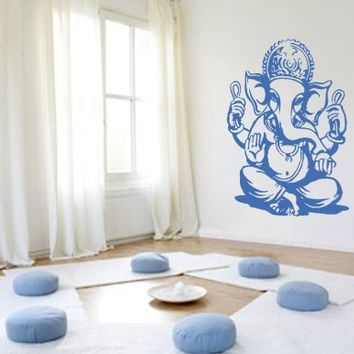 Ik436 Wall Decal Sticker Room Decor Wall Art Mural Indian God Om Elephant  Hindu Success Buddha