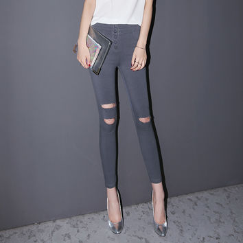 Plain Ripped And Frayed Button Pocket Skinny Jeans