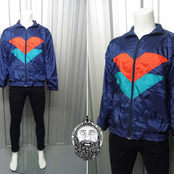 Vintage 80's Blue Windbreaker Jacket Tricolour Jacket Hipster Jacket 90s Windbreaker Nike Jacket Adidas Navy Bomber Jacket Oversized Fit