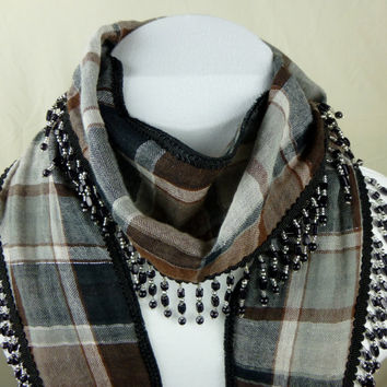 Brown Beaded Fringe Lightweight Gauze Plaid Narrow Scarf -  black and silver bead fringe- skinny scarf