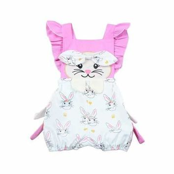 Cute Bunny Baby Girls Backless Romper