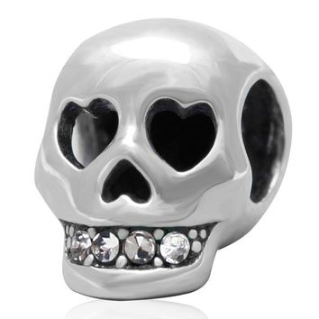 New Authentic 925 Sterling Sliver Bead Charm Skull Rhinestone Beads Fit Pandora Bracel
