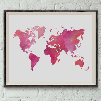 Printable Wall Art, Pink Watercolor World Map, 10 x 8 inch, Instant Download, Dorm Decor, Home Decor, Apartment Decor,Classroom Decor