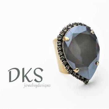 Dark Grey, Large Swarovski Pear Shaped Ring, Statement, Black Diamond Halo, Ant Gold, Wide Band, DKSJewelrydesigns, FREE SHIPPING