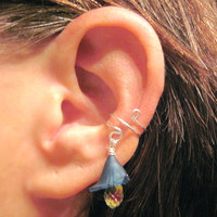 "Ear Cuff Cartilage ""Bellflower"" No Piercing Helix Conch Sterling Silver Wire"
