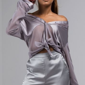 AKIRA Label Mesh Long Sleeve Blouse with Satin Collar and Pocket Detail in Black, Grey