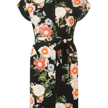 Black Floral Print Shirt Dress | Dorothyperkins