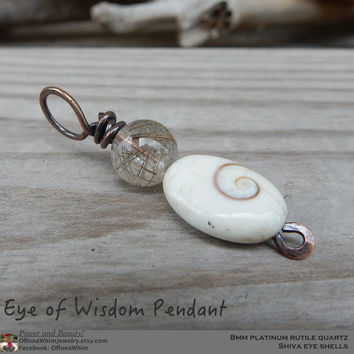 Boho Pendant, Japanese Powerstone, Wisdom Pendant, Handmade Jewelry, Shiva Eye Shell, Platinum Quartz, Necklace, Beach Jewelry made in Japan