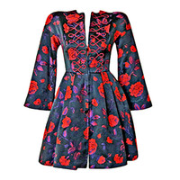 CHRISTIAN LACROIX - 1980's CHRISTIAN LACROIX ASIAN INSPIRED FLORAL BROCADE MINI DRES